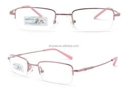 Half-rim metal memory optical frame with flex hinge ,super thin ,super light eyeglass frame,cadru optic