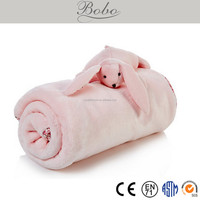 flannel baby cuudle blanket with plush bunny toy, baby pink blanket, baby blanket toy