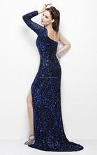 Sexy See Through Back High Sequined Split Short Sleeve Velvet Evening Dresses