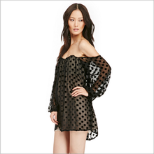 Sexy girls in transparent dress backless dresses short and polka dot 2015 tunic top