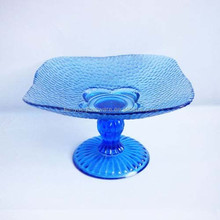 Gorgeous Cobalt Blue Glass Dry Fruit, Desserts Plate With Stand