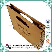 Hot sale handle kraft paper grocery bag with black logo