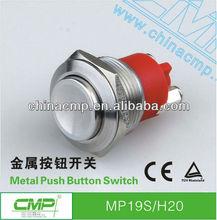 19mm de acero inoxidable a prueba de agua altamente ip67, normalmente abierto de botón pulsador momentáneo del interruptor 250v