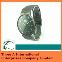 Gents Slim Stainless Steel Black Dial Mesh Band Watch