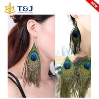 New Fashion Cute Lady Peacock Feather Earrings Dangle Style Studs Earrings