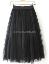 women fashion long organza skirt with knitted fabric lining