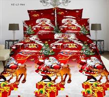 3D polyester microfiber High density Christmas duvet cover fitted sheet pillowcase