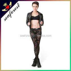 Women Black lace sexy leggings/lace sexy tight slim pants