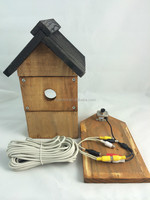 FSC and BSCI Wooden wire bird house with camera in factory for wholesale