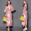 New Arrival Elegant Half Sleeve Printed Branded Dovetail Maxi Long Dress