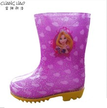 Children's PVC Welly,New Design Waterproof Rain Boot, Sparkling Purple Has Hreat Ground Has Girl Printing Has Yellow Sole