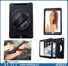 Genuine Leather Hand Strap Rotating 3 Layer Heavy Duty Hybrid Armor Case for iPad Mini 1 2 3, with Touchable Screen