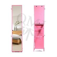 Muti-used pink jewelry armoire with full length mirror from QMJ