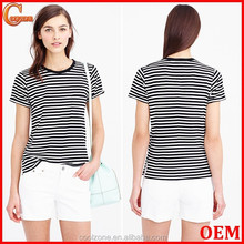 Fashion rolled sleeve stripe print women t shirt wholesale factory