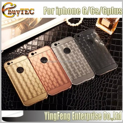 2015 new products 2 in1 electroplated 3D Aluminum mirror cell phone case for iphone 6 case, for iphone case with 4 colors