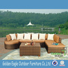 Brown color UV-resistant PE rattan outdoor sofa wicker garden sofa with comfortable cushions for wholesale
