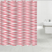 Customized bathroom accessories home goods shower curtains printing red curved lines curtains designs color white