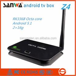 NEW Sanwa Z4 RK3368 Octa Core 4K google Android TV Box 5.1 with KODI 15.0 android media player smart live tv box