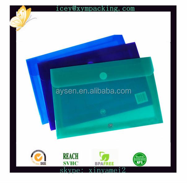 透明なppのプラスチックボタン留めを備えたエンベロープファイルバッグ
