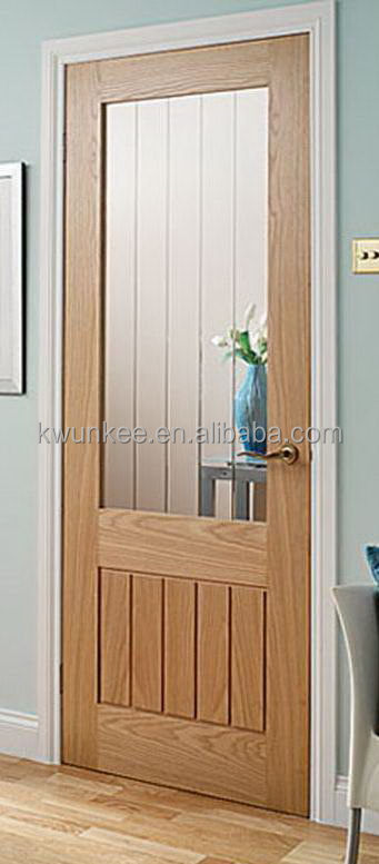 High quality new coming solid wooden glass bathroom door for Solid glass shower doors