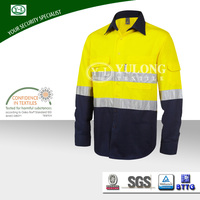 wholesale manufacturer 190gsm two tone 3M reflective safety work yesllow hi vis shirt