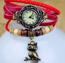 Hole sale leather band vintage wrist watch women with owl pendant