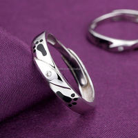 Wholesale romantic crystal love gift accept paypal couple ring,925 silver electroplating silver ring designs women 2012