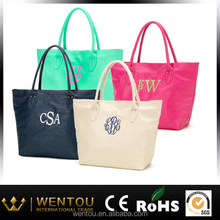 Personalized monogrammed faux leather large tote bag