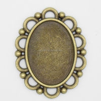 RS-1027 18x25mm Antique Brass Zinc Alloy Metal oval shaped direct wholesale costume jewelry china