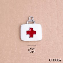 Yiwu xinghui factory white and red enamel nurse charms,alloy 1.60cm size nurse charms