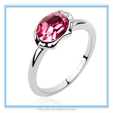 MECY LIFE summer fresh charming high quality good price elegant colorful shining hot selling Pink oval ring with diamond