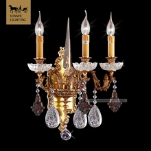 Discount 3 Lights Bronze Wall Sconces bronze crystal primitive wall sconces for Aisle