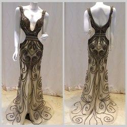 Real Pic Instock Elegant Cap Sleeve Scoop Heavy Beaded Long Gray Evening Dresses 2015 Evening Gowns Sleeveless AC2085