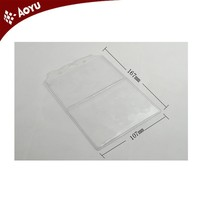 Customized transparent double pocket plastic pvc id card holder .place card holder