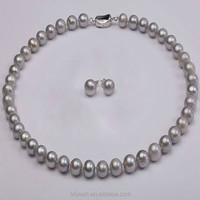 10-11mm Cheap Cultured Pearl Necklace and Earrings Set