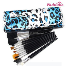 12pcs blue leopard animal print bowknot design hot sales cosmetic makeup brushes