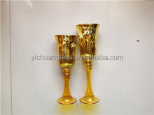 Luxcury Golden mercury Glass Hurricane set for decoration with LED light