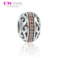 Ancient Style Hollowed Pattern Surround Orange CZ Stones 925 Silver Bead Landing Charms