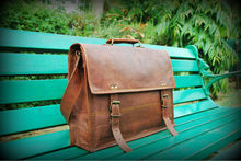 """Vintage Handmade Genuine Leather satchels and leather cross body bags 15"""" pocketless"""