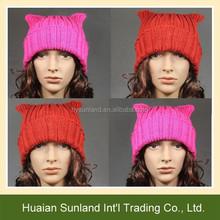 W-757 handmade crochet cat beanie for fashion girl knit hat cat pattern