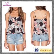 Ladies new design floral pattern sublimation printed chiffon tank top