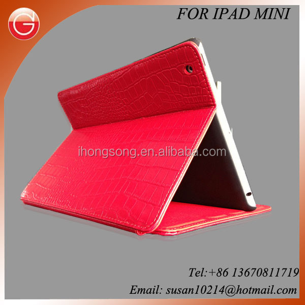 hot sale luxurious Red Leather cases for iPad 4 / iPad mini