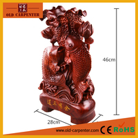 """Rosewood fish """"Richer and Richer"""" money drawing wood carving decorative personalized art minds wood crafts"""