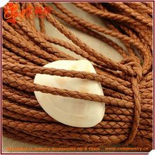 Genuine Leather Cord, Jewlery Making Components, 1mm Knitted Leather Rope In Coffee Colored