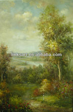 Impression green forest landscape oil painting on canvas