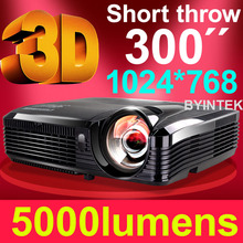 Professional Home cinema Full HD 1080p DLP 5000 ansi lumens 3D short throw projector
