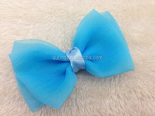 Wholesale Voile gauze Bows Satin Ribbon organza Bows flowers for Baby Headbands hair bows for girls Accessories