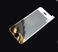 New Arrival! 2015 Latest Colored Mirror Effect clear gold Tempered Glass Screen Protector for iPhone 6
