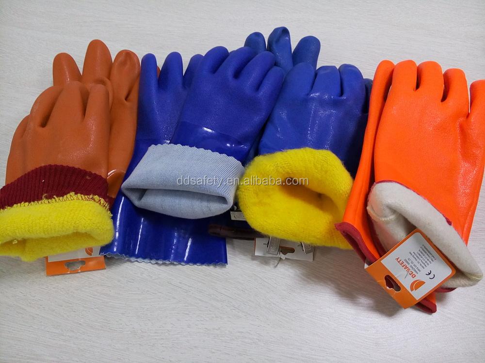 Ddsafety PVC gants noir PVC finis rugueux seulement sur la paume. 100% des gants de coton doublure DPV117 gants de sécurité