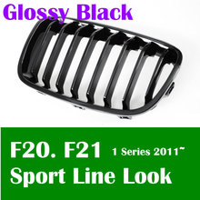 Free shipping Glossy Black Front Kidney Grille for bmw 1 Series F20 F21 Sport Line Look Shiny